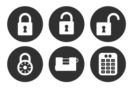 Lock icons set isolated on white background. Reliability and trust protection symbol. Vector illustration Vektorové ilustrace