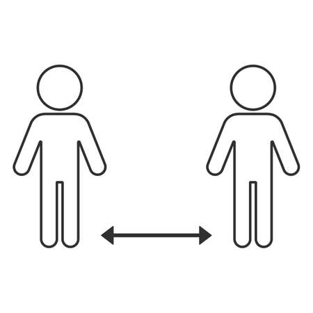 Social distancing icon. Simple silhouettes of people with an arrow between them. It can be used to prevent an outbreak of the covid-19 coronavirus. Vector illustration isolated on white background.