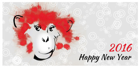 china watercolor paint: Horizontal Banners Set with Hand Drawn Chinese New Year Monkeys. Red watercolor stain and black ink drawing, sketch. Symbol of 2016 New Year.