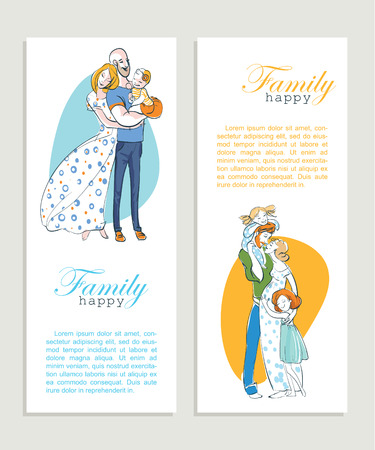 Banner happy family portrait. Father, mother and daughter. A woman in a long dress hugging a man with a child on the hand. Gentle and loving family.