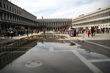 venice, veneto, italy, september, 25th, 2014, people, historical buildings at the famous place san marco
