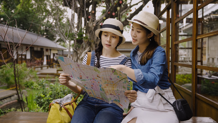 Teenagers travel kyoto japan concept.