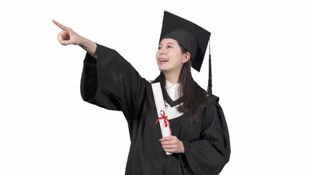 asian japanese woman student wearing graduate uniform. 写真素材