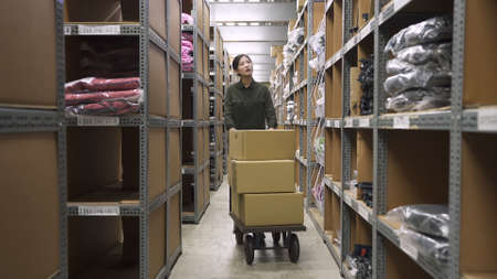 beautiful girl postman looking up to shelf rolling cardboard boxes on pushcart while working in warehouse room.
