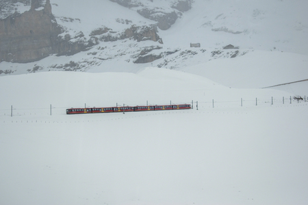 photos of the trains that take folks from Lauterbrunnen to Jungfraujoch. Banco de Imagens