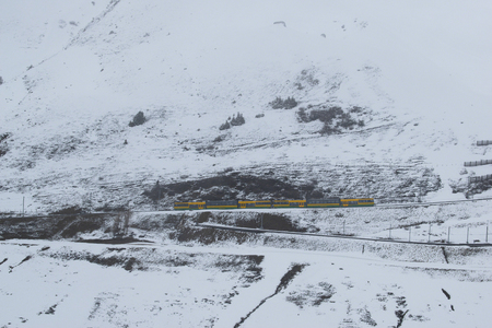 photos of the trains that take folks from Lauterbrunnen to Jungfraujoch. Banco de Imagens - 108243143
