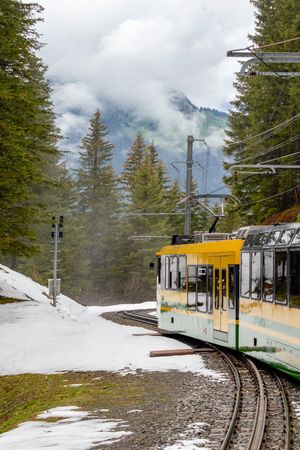 photos of the trains that take folks from Lauterbrunnen to Jungfraujoch. Banco de Imagens - 108243173