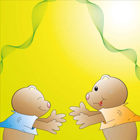 young bears together Illustration