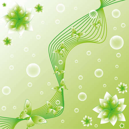green butterflies with flowers Illustration