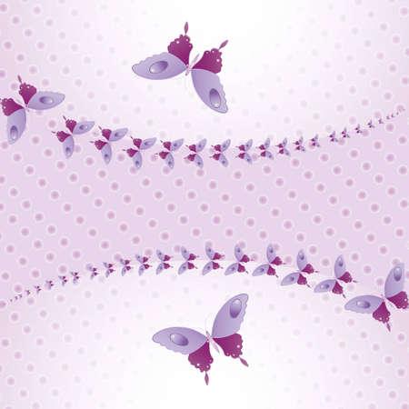 Purple butterflies in the air