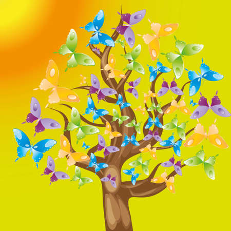 tree with colorful butterflies