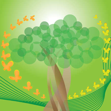 tree with green line and butterflies
