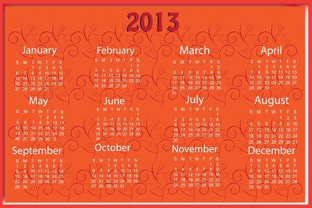 Red 2013 calender sample Stock Vector - 16899365
