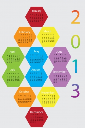 Beatiful colorful rainbow calender 2013
