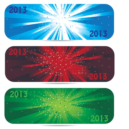 2013 new year banner icons in 3 color Vector