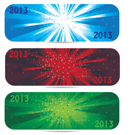 2013 new year banner icons in 3 color Illustration