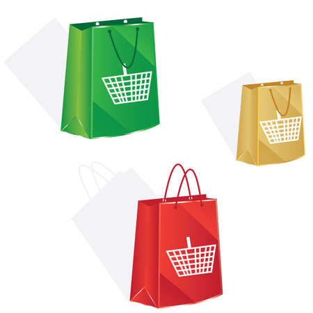 3 bag with basket icon for christmas shopping
