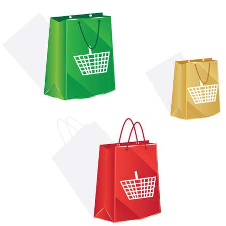 3 bag with basket icon for christmas shopping