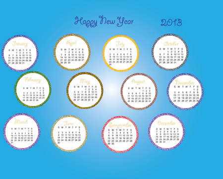 2013 calender with blue backdrop months, days, date Vector