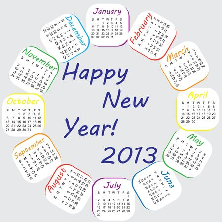 2013 colorful, rainbow calender