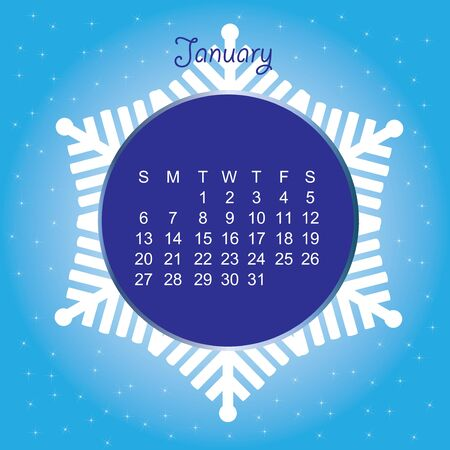 January blue calender in snowflake