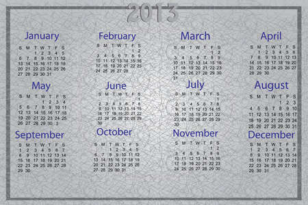 Beautiful 2013 calender in gray color