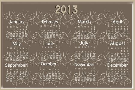 2013 beautuful sample calender Stock Vector - 16931658
