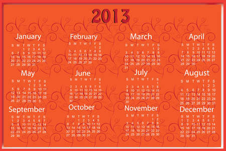 Red 2013 calender sample Stock Vector - 16931659