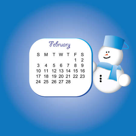 2013 february calender with a snowman Stock Vector - 16931650