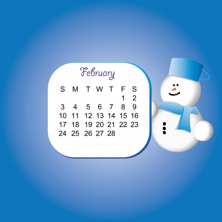 2013 february calender with a snowman