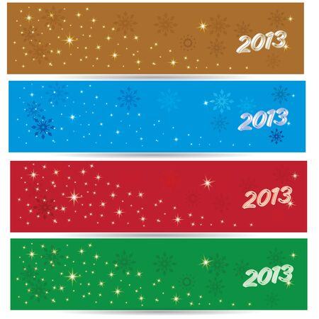Beautiful winter benners 2013 for 4 colors gold blue red green Vector