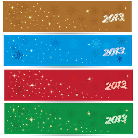 Beautiful winter benners 2013 for 4 colors gold blue red green Illustration
