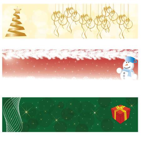 3 beautiful christmas, winter banners Illustration
