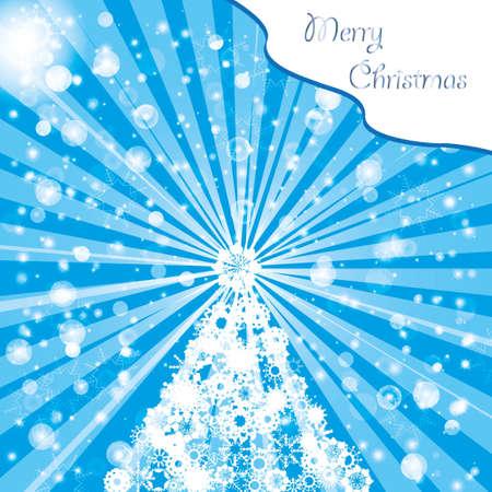 merrily: Albero di Natale da fiocchi di neve Vettoriali