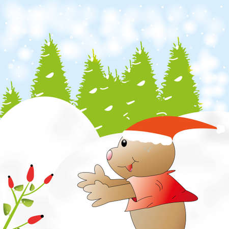 Cartoon winter card Stock Vector - 16931624