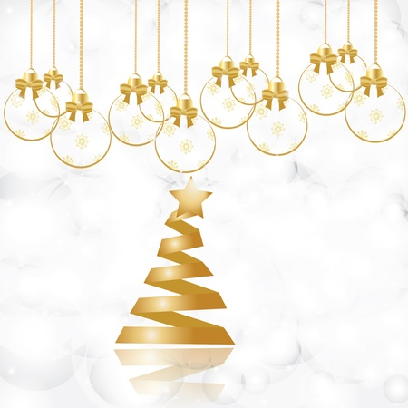Beautiful gold Christmas tree with reflection Stock Vector - 16931569