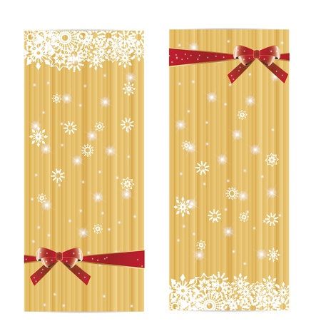 Beautiful winter golden banner with bow Illustration