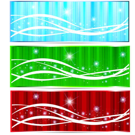 Beautiful winter blue green red banner Illustration