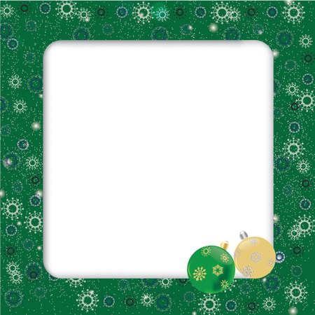 Beautiful green christmas frame with christmas balls
