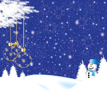 Beautiful christmas background with a snowman and clear christmasballs