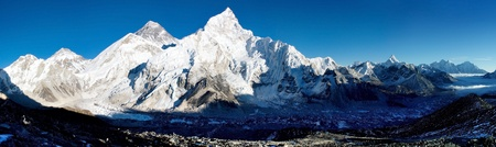everest: view of Everest and Nuptse from Kala Patthar