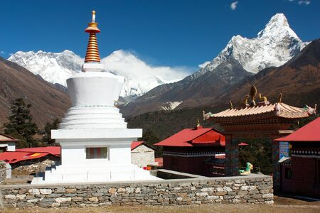 gompa: Ama Dablam Lhotse and top of Everest from Tengboche