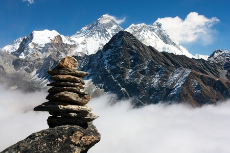 view of everest with stone man from gokyo ri  Stock Photo