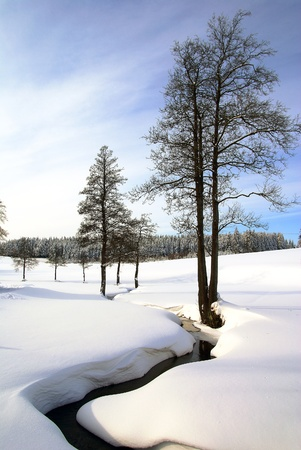 wintry: wintry landscape scenery Stock Photo