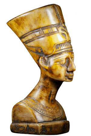 bust of Queen Nefertiti on white background