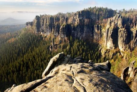 schweiz: view of sandstone rock face - Czech-saxon Switzerland - natoinalpark Sachsische Schweiz - Germany Europe