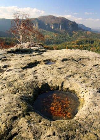 bedrock: view from Wintersten ruin castle - Czech-saxon Switzerland - nationalpark Sachsische Schweiz - Germany Europe