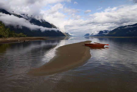 lake and rowboat - teleckoje ozero  Stock Photo - 12738647