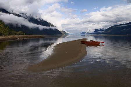 lake and rowboat - teleckoje ozero  Reklamní fotografie