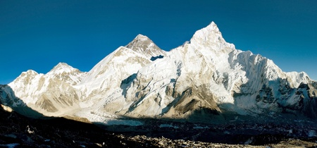himalaya: evening view of Everest and Nuptse from Kala Patthar